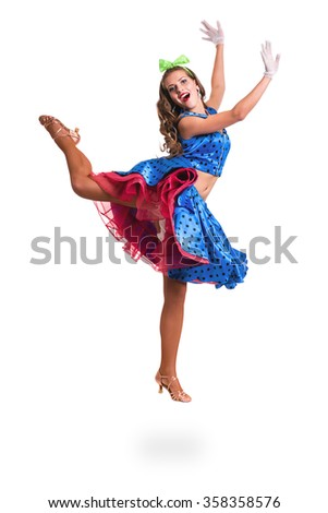 Disco dancer woman showing some movements against isolated white background - stock photo