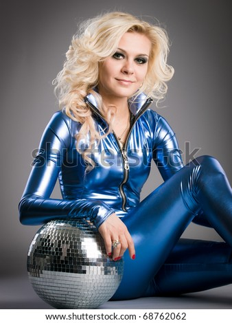 disco girl with mirror ball - stock photo