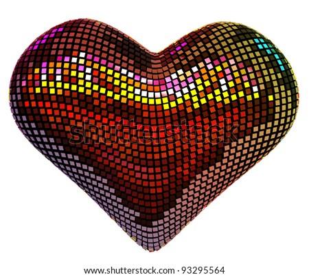 Disco heart Isolated over white - stock photo