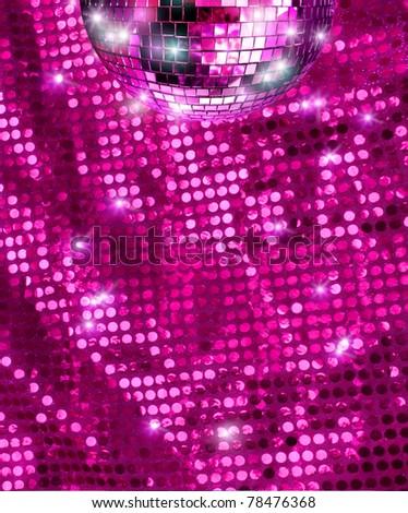 Disco mirro ball  reflecting light on pink glitter background - stock photo