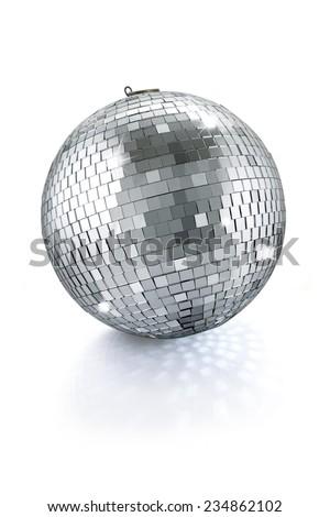 disco mirror ball isolated on white background - stock photo