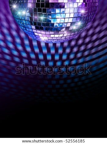 Disco mirror ball reflecting light spots on ceiling - stock photo