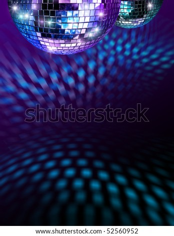 Disco mirror balls light reflections on ceiling and floor - stock photo