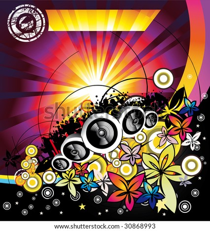 Disco Music Summertime event background - stock photo