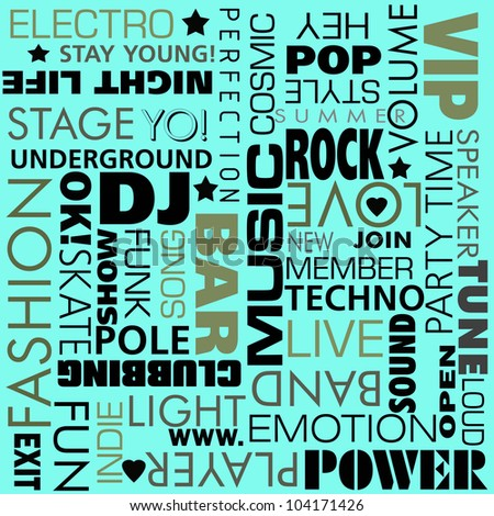 Disco party set background - stock photo