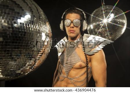 disco superhero in a club setting - stock photo