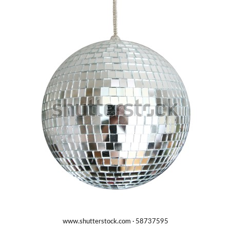 discoball hanging on chainlet isolated - stock photo
