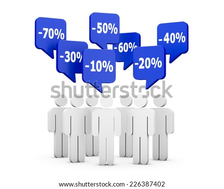 discount and man 3d - stock photo