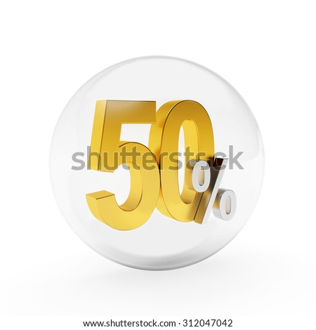 Discount concept. Crystal ball with golden 50 percent inside isolated on white background