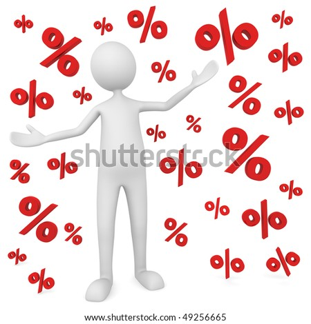 Discount concept depicting percentage symbols falling on man; great for business, economy, sales. - stock photo