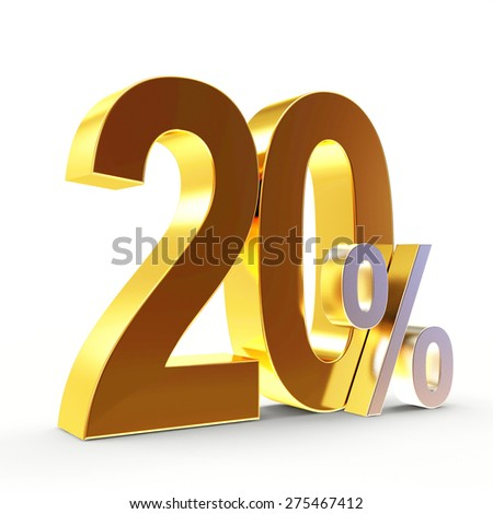 Discount concept. Golden 20 percent isolated on white background