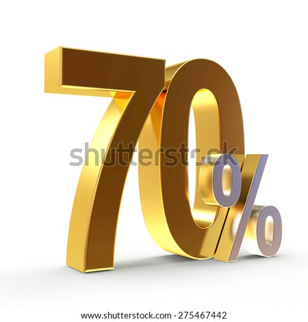 Discount concept. Golden 70 percent isolated on white background - stock photo