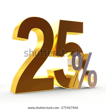 Discount concept. Golden 25 percent isolated on white background