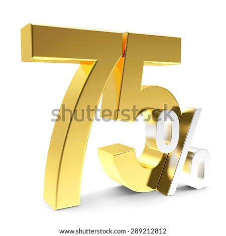 Discount concept. Golden 75 percent isolated on white background