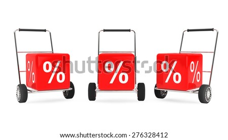Discount Concept. Hand Carts with Percent Cubes on a white background - stock photo