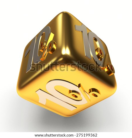 Discount concept. 10 percent on a golden sale cube isolated on white background - stock photo