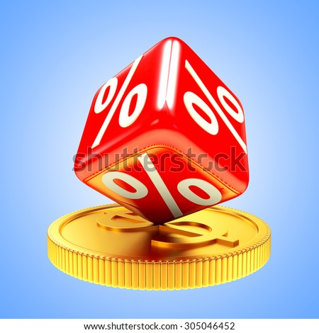 Discount concept. Red cube with percent symbol on golden coin on blue background - stock photo