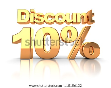 Discount coupon with 10 percent on a white background - stock photo