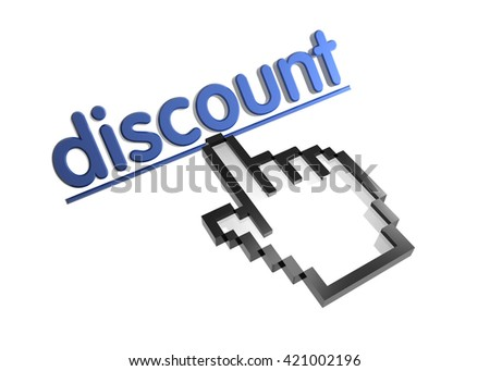 discount. 3d rendered inscription. Link and finger, pointer. Isolated on white