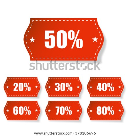 Discount labels set with shadow on white  background - stock photo