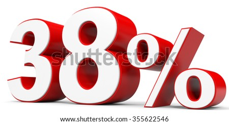 Discount 38 percent off. 3D illustration.
