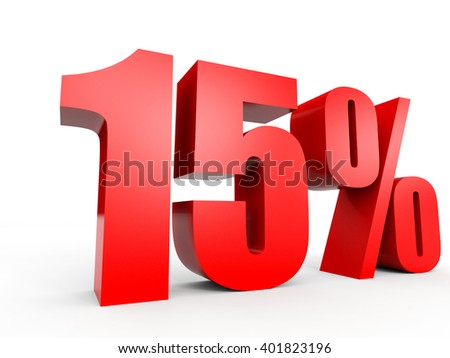 Discount 15 percent off. 3D illustration on white background. - stock photo