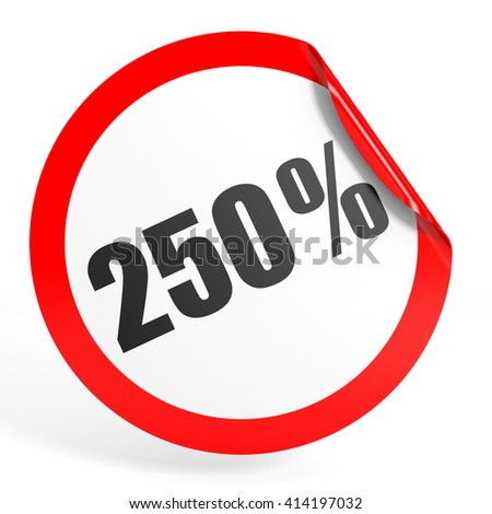 Discount 250 percent off. 3D illustration on white background. - stock photo