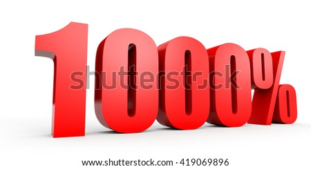 Discount 1000 percent off. 3D illustration on white background. - stock photo