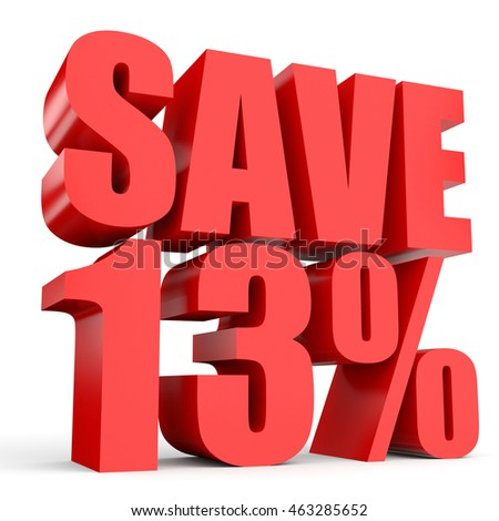 Discount 13 percent off. 3D illustration on white background.