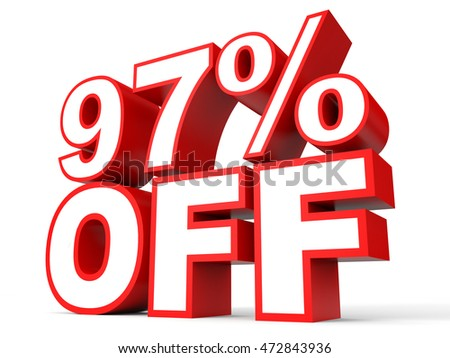 Discount 97 percent off. 3D illustration on white background.