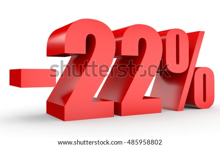 Discount 22 percent off. 3D illustration on white background.