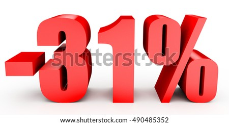 Discount 31 percent off. 3D illustration on white background.