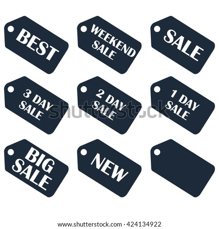 Discount sale price tags labels stikers. Icons isolated. Flat design style. Icon set. Sale, Weekend, 3 2 1 day, best, big sales. raster illustration