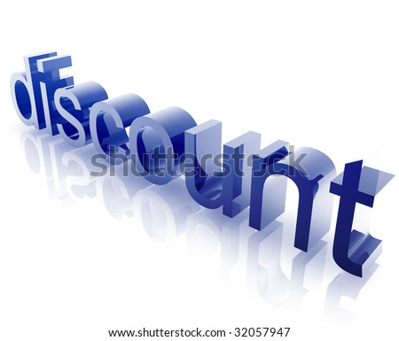 Discount sales word graphic, with metal chrome style