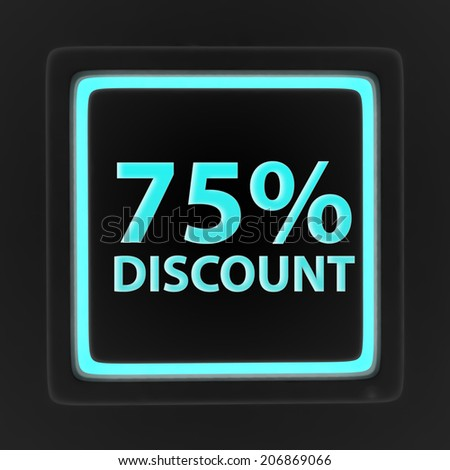Discount 75 square icon on white background