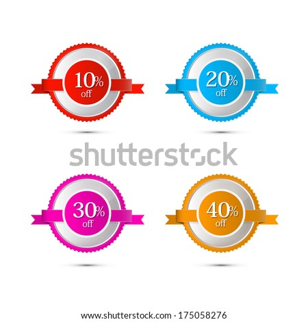 Discount Stickers, Labels Isolated on White - Also Available in Vector Version