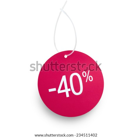 Discount tag. 40% off against white background. Clipping path on tag and hanger tape - stock photo
