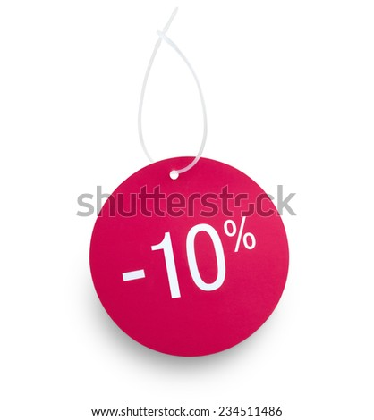 Discount tag. 10% off against white background. Clipping path on tag and hanger tape - stock photo