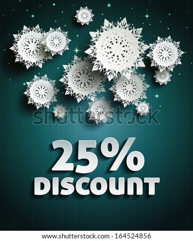 Discount text with numbers and snowflakes. Rasterized copy - stock photo