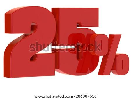 discount twenty five percent on a white background - stock photo