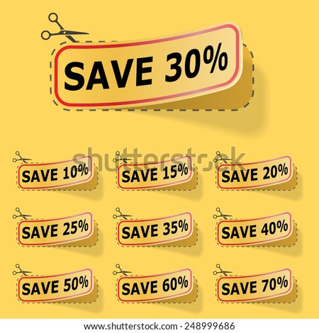 Discount yellow labels with red frame. - stock photo