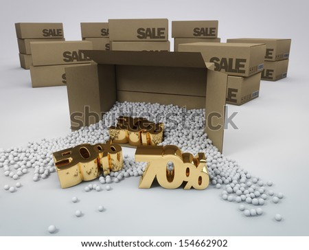 discounts in boxes - stock photo