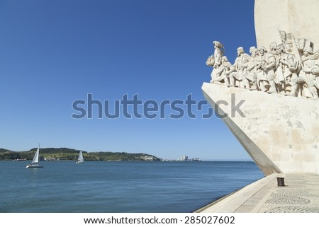 Discovery monument in Belem, Lisbon. The monument shows Henry the navigator at the forefront and celebrates the Portuguese age of discovery.