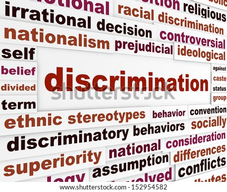 Discrimination social issue concept. Human differences message design - stock photo