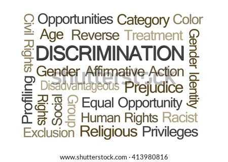 Discrimination Word Cloud on White Background - stock photo
