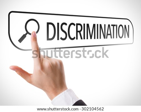 Discrimination written in search bar on virtual screen - stock photo
