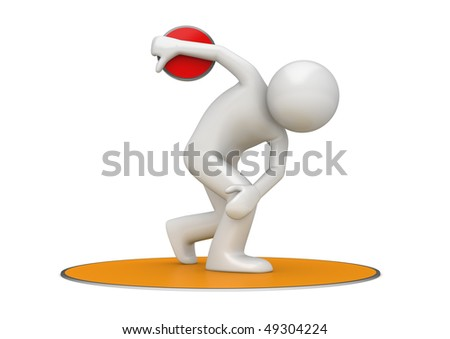Discus throwing (3d isolated on white background sports characters series) - stock photo