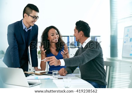 Discussing business issues - stock photo