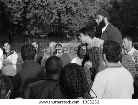 Discussion about religion at Speaker's Corner in Hyde Park, London - stock photo