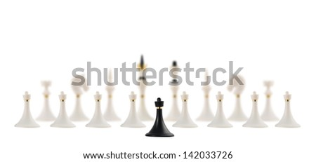 Discussion and negotiation concept as black chess pawn figure opposite to the white ones composition  isolated over white background - stock photo